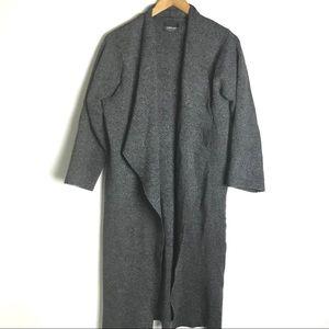 Zara Gray Open Front Long Cardigan Sweater Medium